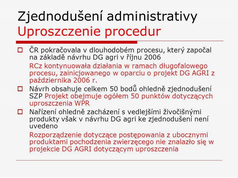 Zjednodušení administrativy Uproszczenie procedur  ČR pokračovala v dlouhodobém procesu, který započal na základě návrhu DG agri v říjnu 2006 RCz kontynuowała działania w ramach długofalowego procesu, zainicjowanego w oparciu o projekt DG AGRI z października 2006 r.