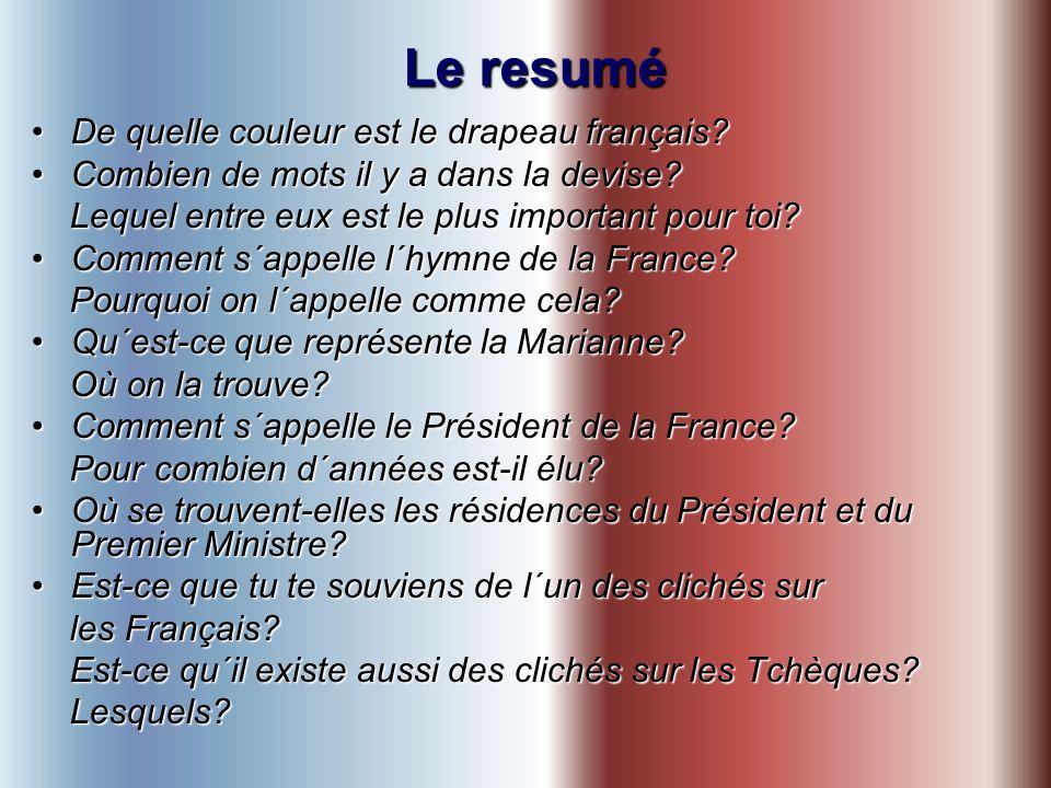 Le resumé De quelle couleur est le drapeau français?De quelle couleur est le drapeau français.