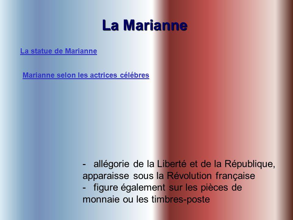 La Marianne -allégorie de la Liberté et de la République, apparaisse sous la Révolution française -figure également sur les pièces de monnaie ou les timbres-poste La statue de Marianne Marianne selon les actrices célébres