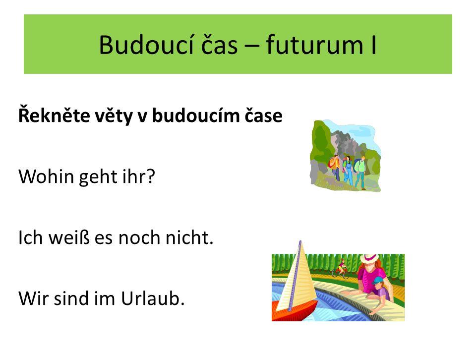 Budoucí čas – futurum I Řekněte věty v budoucím čase Wohin geht ihr.