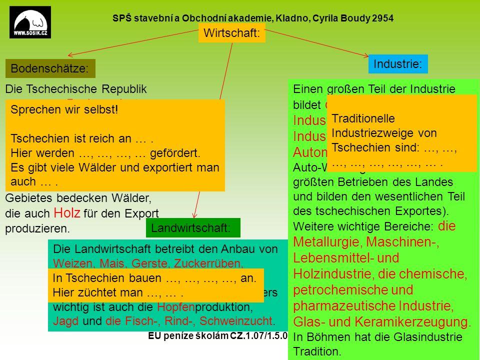 SPŠ stavební a Obchodní akademie, Kladno, Cyrila Boudy 2954 EU peníze školám CZ.1.07/1.5.00/34.0154 9 Landwirtschaft: Bodenschätze: Industrie: Wirtsch