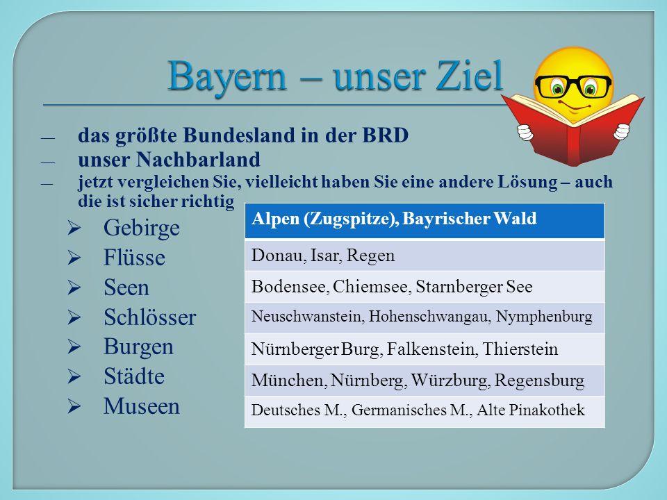 Die Reise beginnt in München, in der Landeshauptstadt, die die größte Stadt in Bayern und die drittgrößte deutsche Stadt ist (1,3 Millionen).