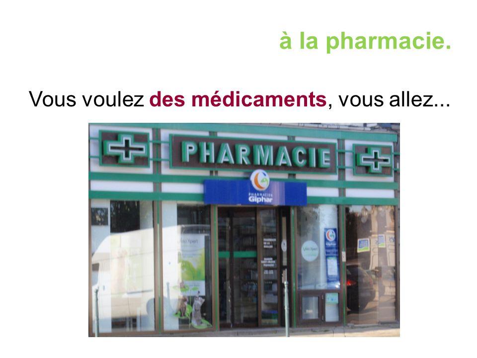 à la pharmacie. Vous voulez des médicaments, vous allez...