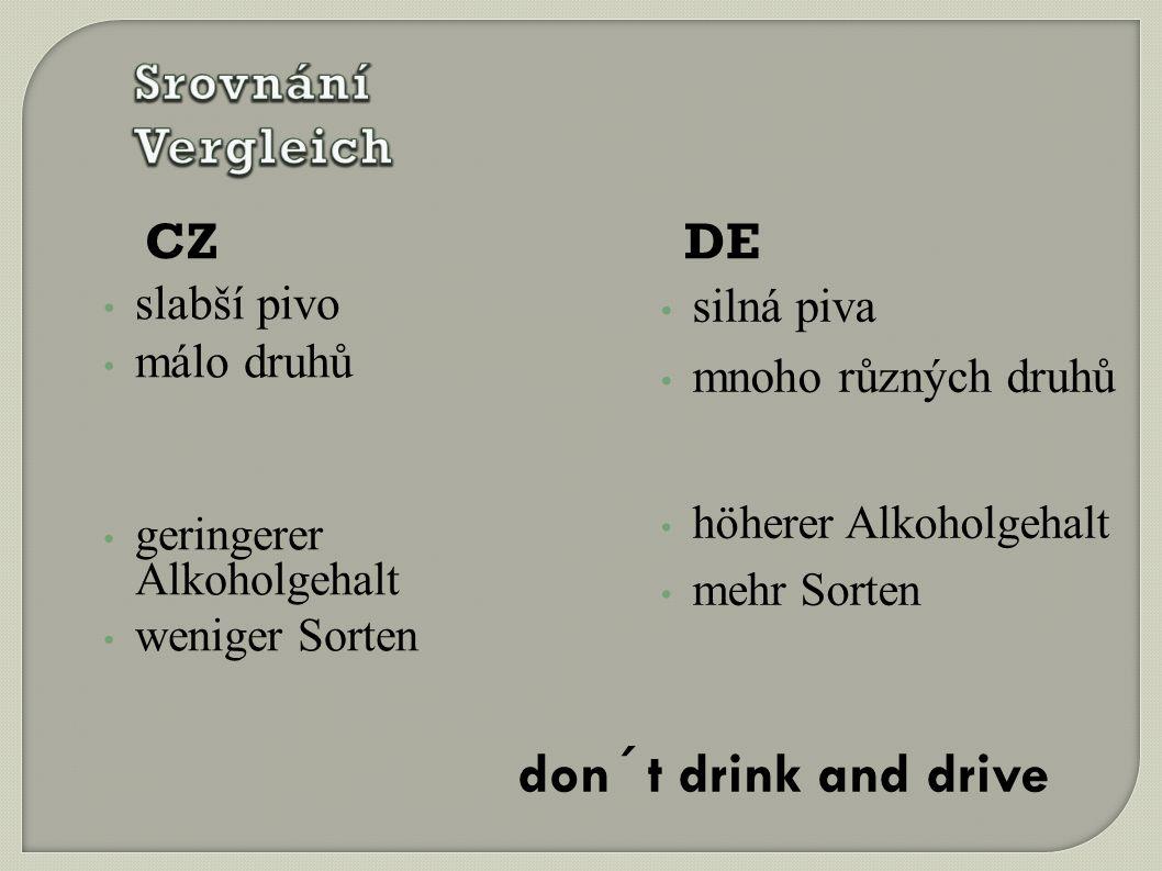 CZ slabší pivo málo druhů geringerer Alkoholgehalt weniger Sorten DE silná piva mnoho různých druhů höherer Alkoholgehalt mehr Sorten don´t drink and drive