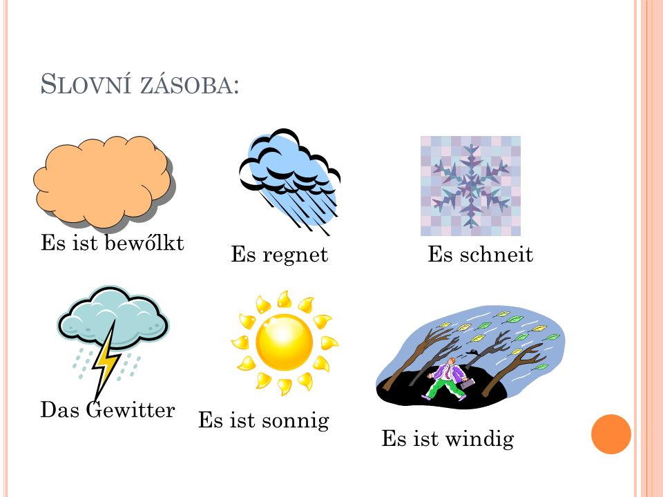 S LOVNÍ ZÁSOBA : Es ist bewőlkt Es regnetEs schneit Das Gewitter Es ist sonnig Es ist windig