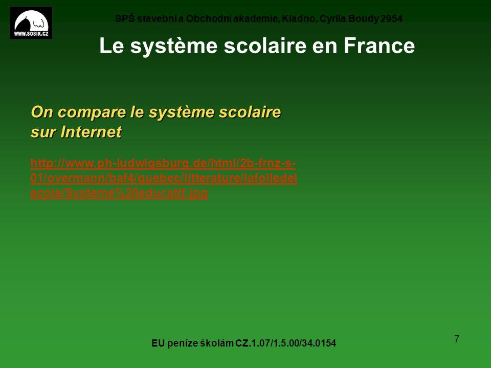 SPŠ stavební a Obchodní akademie, Kladno, Cyrila Boudy 2954 EU peníze školám CZ.1.07/1.5.00/34.0154 7 Le système scolaire en France On compare le syst