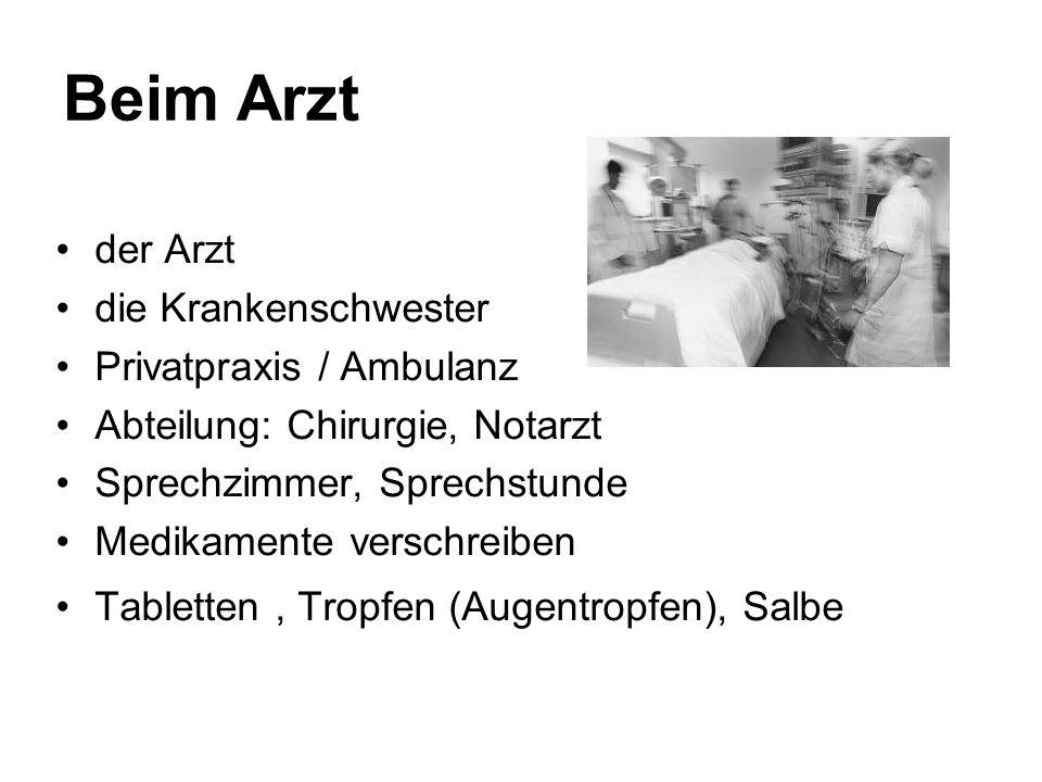 Beim Arzt der Arzt die Krankenschwester Privatpraxis / Ambulanz Abteilung: Chirurgie, Notarzt Sprechzimmer, Sprechstunde Medikamente verschreiben Tabl