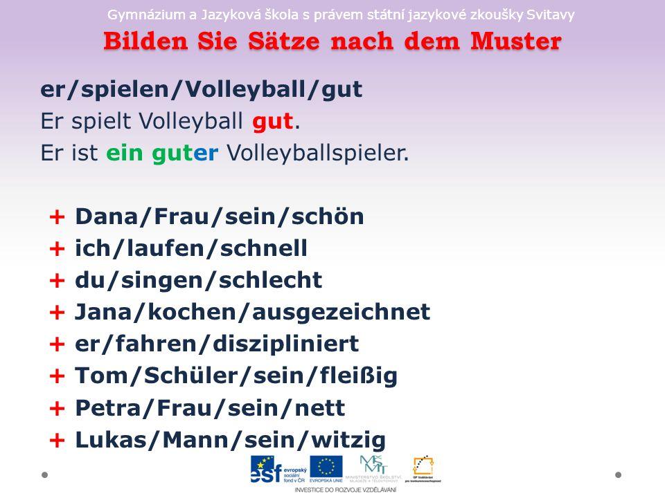 Gymnázium a Jazyková škola s právem státní jazykové zkoušky Svitavy Bilden Sie Sätze nach dem Muster er/spielen/Volleyball/gut Er spielt Volleyball gut.