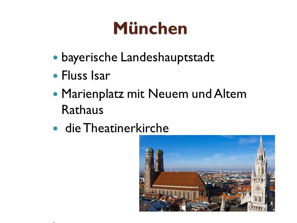München bayerische Landeshauptstadt Fluss Isar Marienplatz mit Neuem und Altem Rathaus die Theatinerkirche.