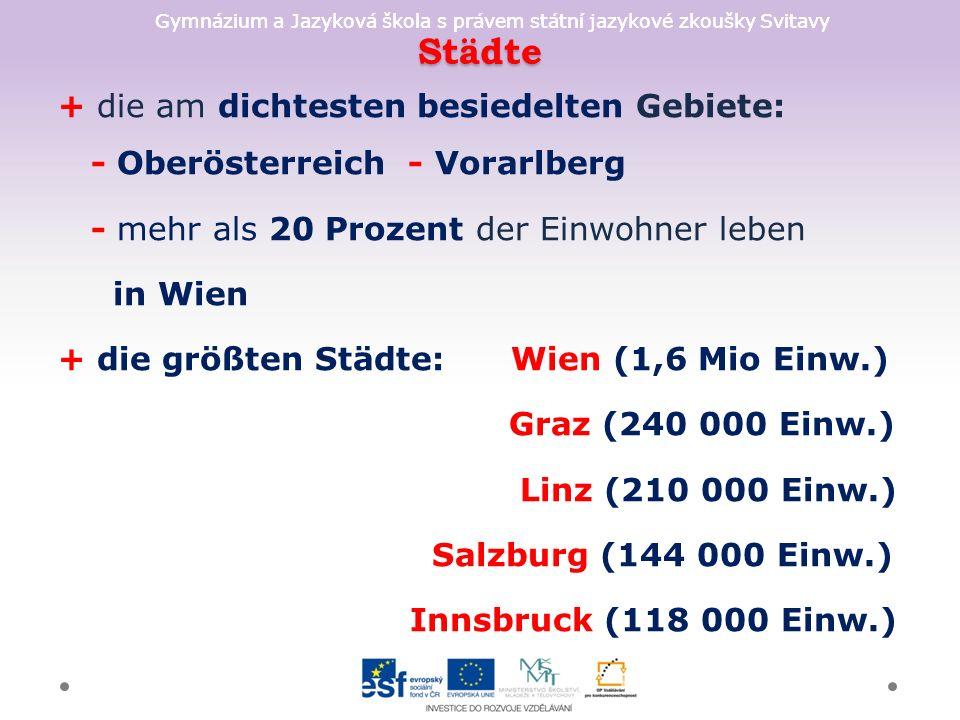 Gymnázium a Jazyková škola s právem státní jazykové zkoušky Svitavy Städte + die am dichtesten besiedelten Gebiete: - Oberösterreich - Vorarlberg - mehr als 20 Prozent der Einwohner leben in Wien + die größten Städte: Wien (1,6 Mio Einw.) Graz (240 000 Einw.) Linz (210 000 Einw.) Salzburg (144 000 Einw.) Innsbruck (118 000 Einw.)