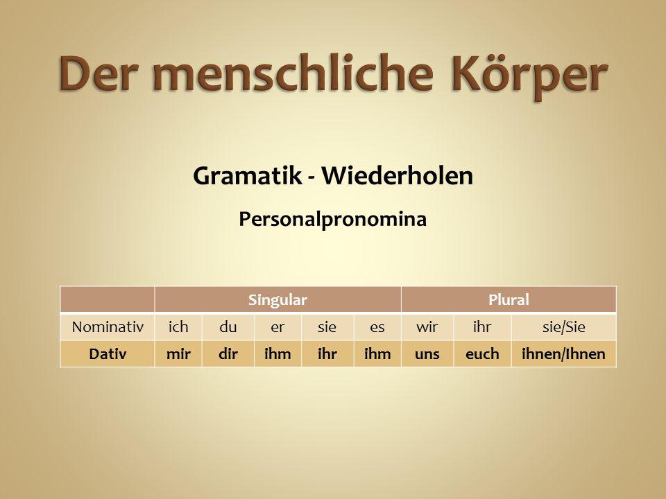 Gramatik - Wiederholen Personalpronomina SingularPlural Nominativichduersieeswirihrsie/Sie Dativmirdirihmihrihmunseuchihnen/Ihnen