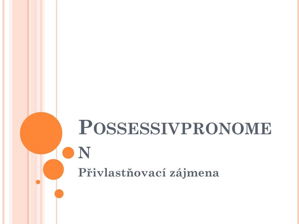 P OSSESSIVPRONOME N Přivlastňovací zájmena
