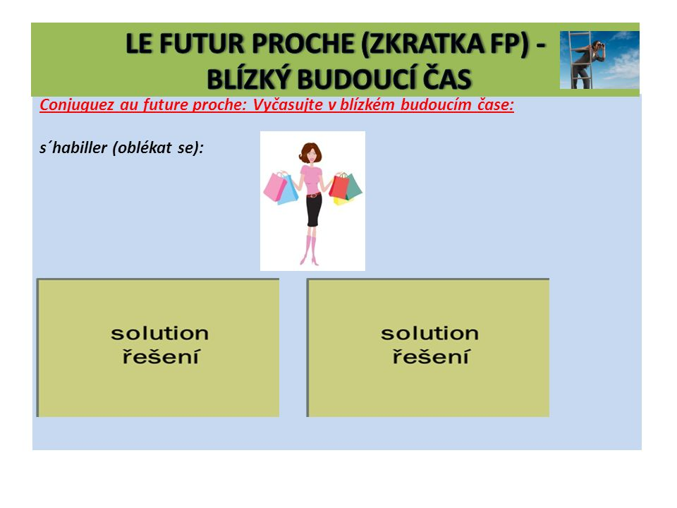 Conjuguez au future proche: Vyčasujte v blízkém budoucím čase: s´habiller (oblékat se): 1.je vais m´habiller nous allons nous habiller 2.tu vas t´habi
