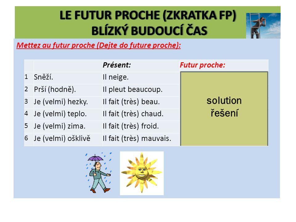 Mettez au futur proche (Dejte do future proche): Présent:Futur proche: 1 Sněží.Il neige.Il va neiger.