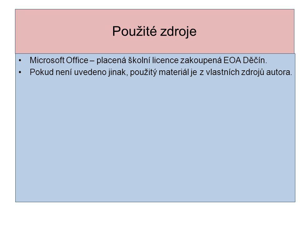 Použité zdroje Microsoft Office – placená školní licence zakoupená EOA Děčín. Pokud není uvedeno jinak, použitý materiál je z vlastních zdrojů autora.
