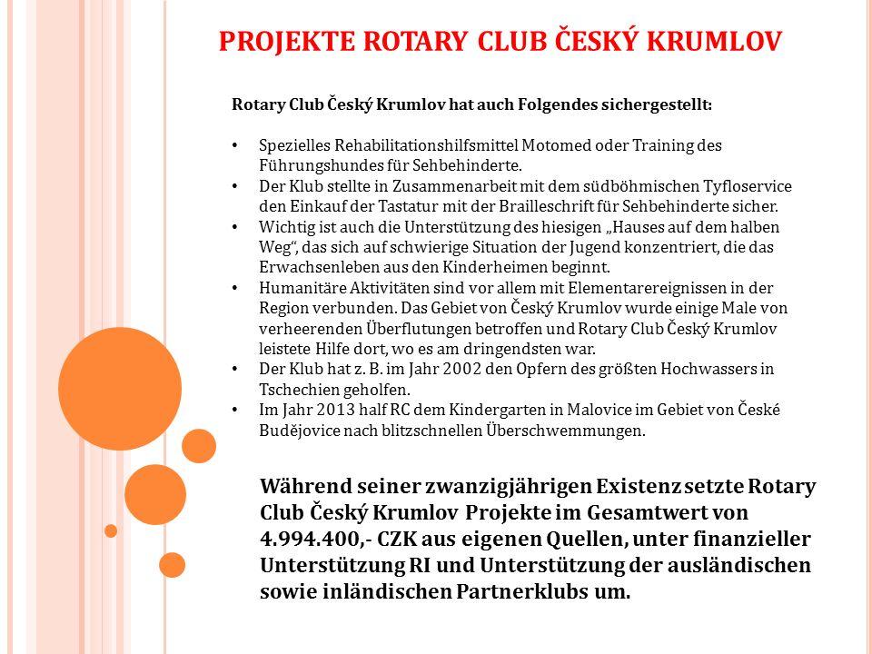 Rotary Club Český Krumlov hat auch Folgendes sichergestellt: Spezielles Rehabilitationshilfsmittel Motomed oder Training des Führungshundes für Sehbehinderte.