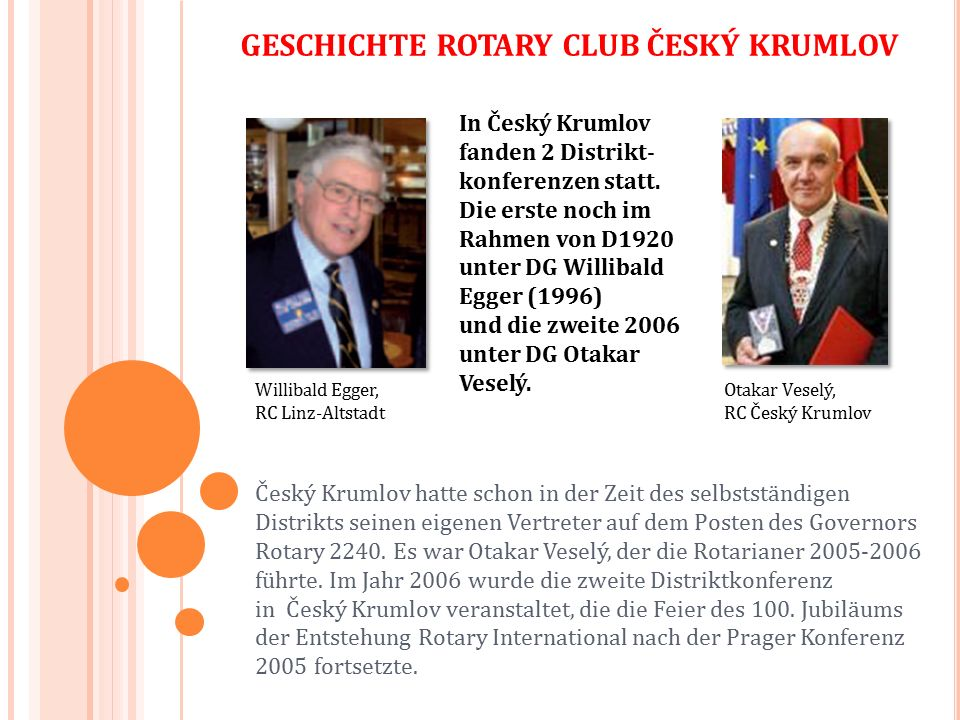 GESCHICHTE ROTARY CLUB ČESKÝ KRUMLOV Distriktkonferenz in Český Krumlov, 12.-14.5.2016 - Die größte Konferenz in der Geschichte D2240, an der insgesamt 480 Rotarianer und weitere Gäste teilnahmen; - bedeutende Teilnehmer waren zum Beispiel der US- Botschafter in der ČR J.E.