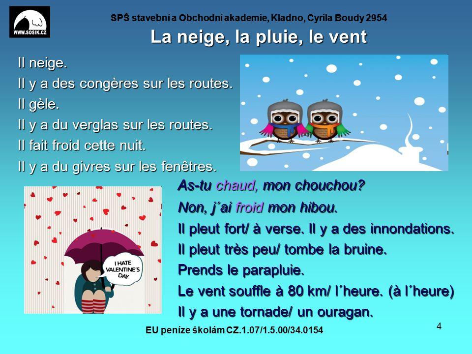 SPŠ stavební a Obchodní akademie, Kladno, Cyrila Boudy 2954 EU peníze školám CZ.1.07/1.5.00/34.0154 4 La neige, la pluie, le vent Il neige.
