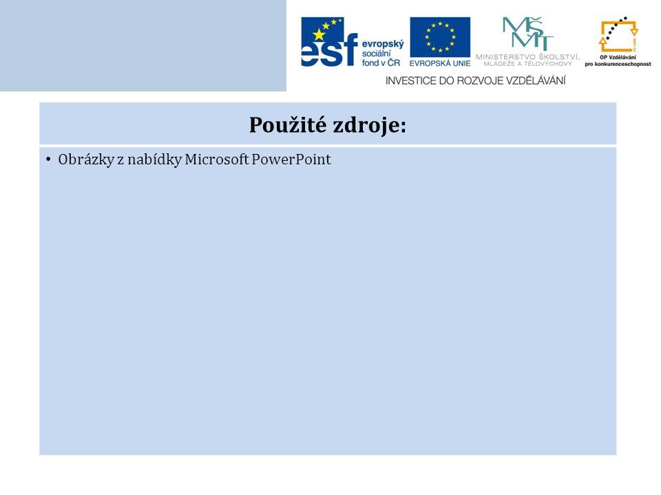 Použité zdroje: Obrázky z nabídky Microsoft PowerPoint
