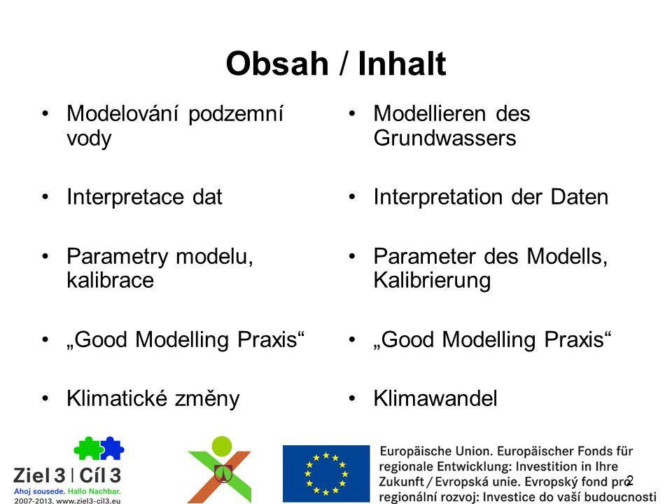 """2 Obsah / Inhalt Modelování podzemní vody Interpretace dat Parametry modelu, kalibrace """"Good Modelling Praxis"""" Klimatické změny Modellieren des Grundw"""