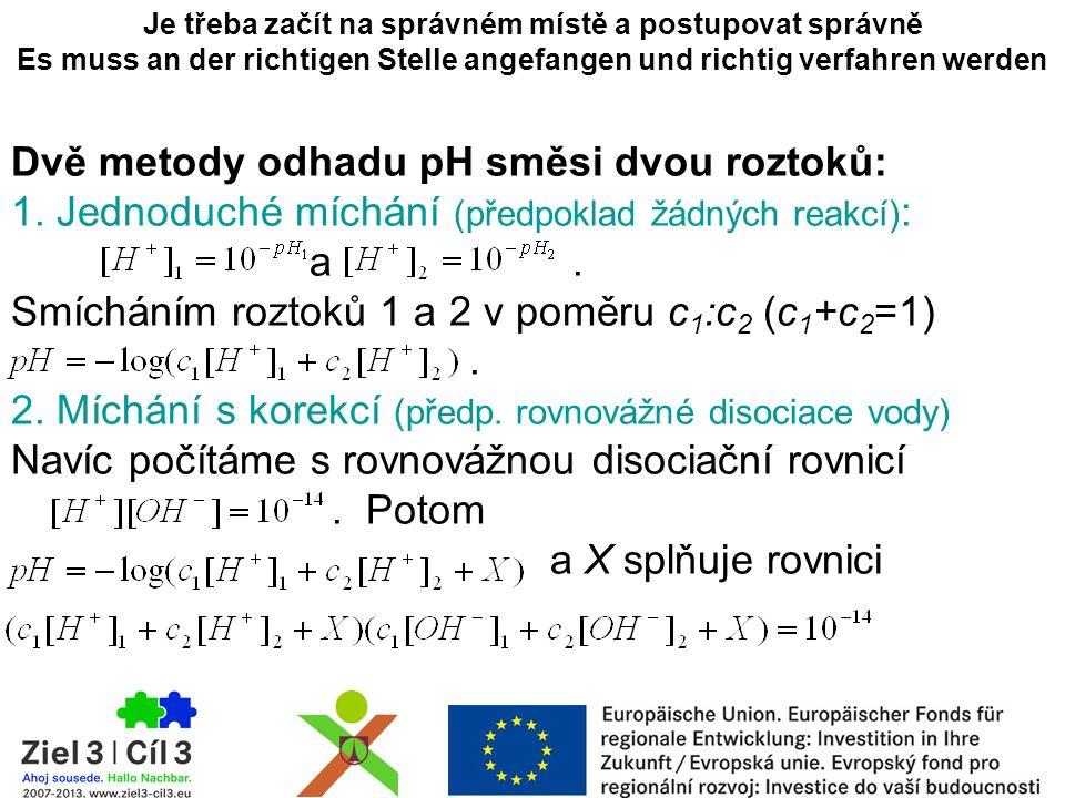 Dvě metody odhadu pH směsi dvou roztoků: 1. Jednoduché míchání (předpoklad žádných reakcí) : a.