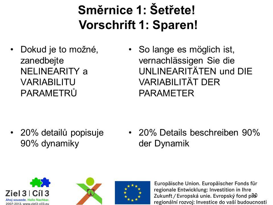 Dokud je to možné, zanedbejte NELINEARITY a VARIABILITU PARAMETRŮ 20% detailů popisuje 90% dynamiky 30 Směrnice 1: Šetřete.