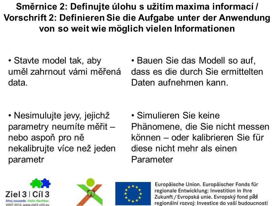 Směrnice 2: Definujte úlohu s užitím maxima informací / Vorschrift 2: Definieren Sie die Aufgabe unter der Anwendung von so weit wie möglich vielen Informationen Stavte model tak, aby uměl zahrnout vámi měřená data.