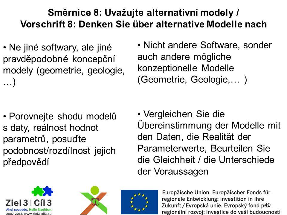 40 Směrnice 8: Uvažujte alternativní modely / Vorschrift 8: Denken Sie über alternative Modelle nach Ne jiné softwary, ale jiné pravděpodobné koncepčn