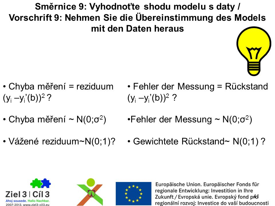 41 Směrnice 9: Vyhodnoťte shodu modelu s daty / Vorschrift 9: Nehmen Sie die Übereinstimmung des Models mit den Daten heraus Chyba měření = reziduum (y i –y i '(b)) 2 .