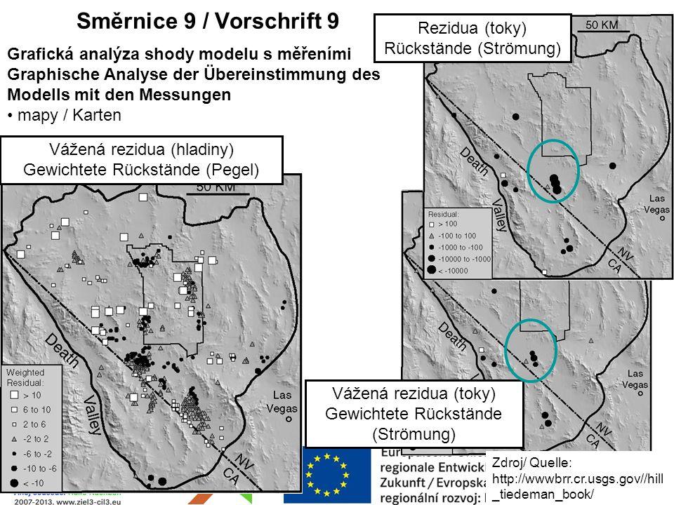 Rezidua (toky) Rückstände (Strömung) Vážená rezidua (toky) Gewichtete Rückstände (Strömung) Směrnice 9 / Vorschrift 9 Grafická analýza shody modelu s