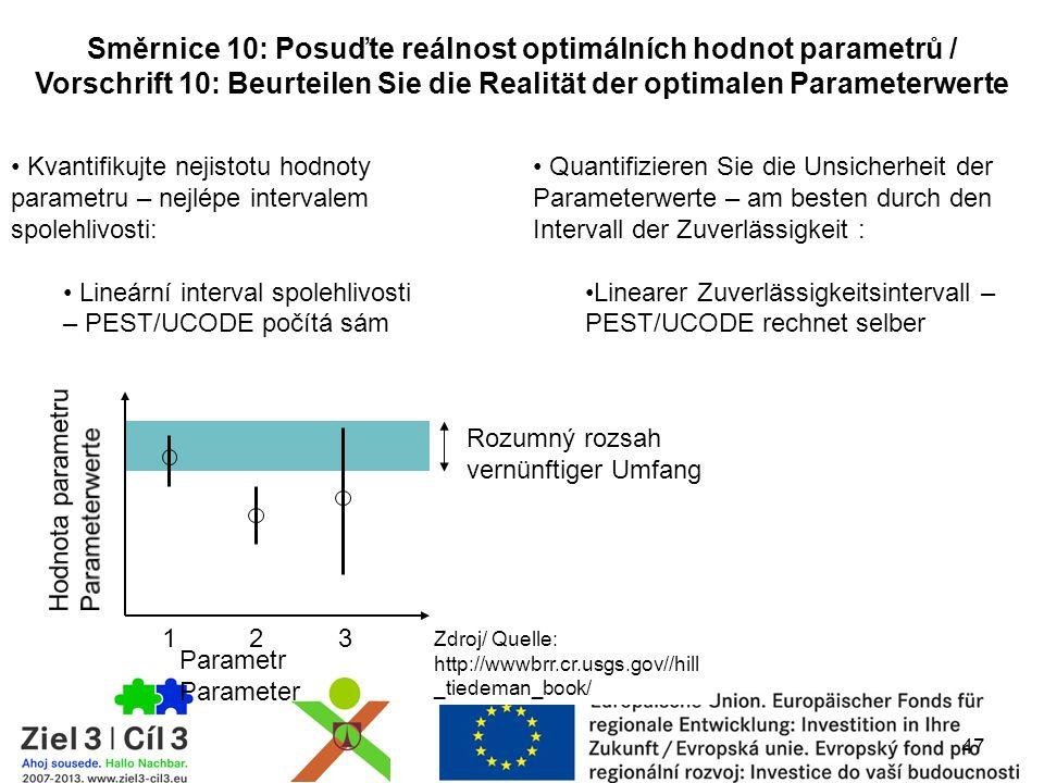 47 Směrnice 10: Posuďte reálnost optimálních hodnot parametrů / Vorschrift 10: Beurteilen Sie die Realität der optimalen Parameterwerte Kvantifikujte