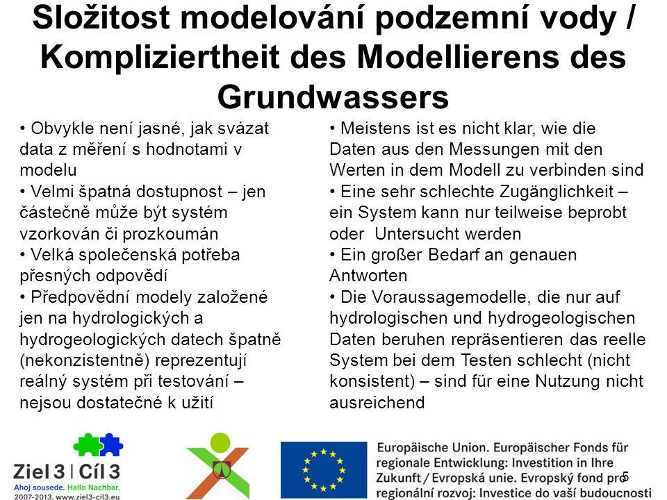 Složitost modelování podzemní vody / Kompliziertheit des Modellierens des Grundwassers Obvykle není jasné, jak svázat data z měření s hodnotami v modelu Velmi špatná dostupnost – jen částečně může být systém vzorkován či prozkoumán Velká společenská potřeba přesných odpovědí Předpovědní modely založené jen na hydrologických a hydrogeologických datech špatně (nekonzistentně) reprezentují reálný systém při testování – nejsou dostatečné k užití 5 Meistens ist es nicht klar, wie die Daten aus den Messungen mit den Werten in dem Modell zu verbinden sind Eine sehr schlechte Zugänglichkeit – ein System kann nur teilweise beprobt oder Untersucht werden Ein großer Bedarf an genauen Antworten Die Voraussagemodelle, die nur auf hydrologischen und hydrogeologischen Daten beruhen repräsentieren das reelle System bei dem Testen schlecht (nicht konsistent) – sind für eine Nutzung nicht ausreichend