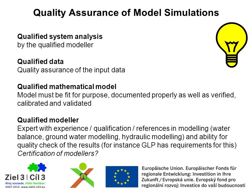 Qualified system analysis by the qualified modeller Qualified data Quality assurance of the input data Qualified mathematical model Model must be fit