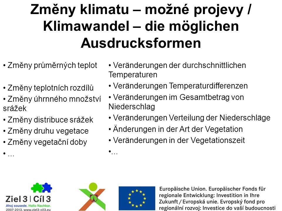 Změny klimatu – možné projevy / Klimawandel – die möglichen Ausdrucksformen Změny průměrných teplot Změny teplotních rozdílů Změny úhrnného množství srážek Změny distribuce srážek Změny druhu vegetace Změny vegetační doby...