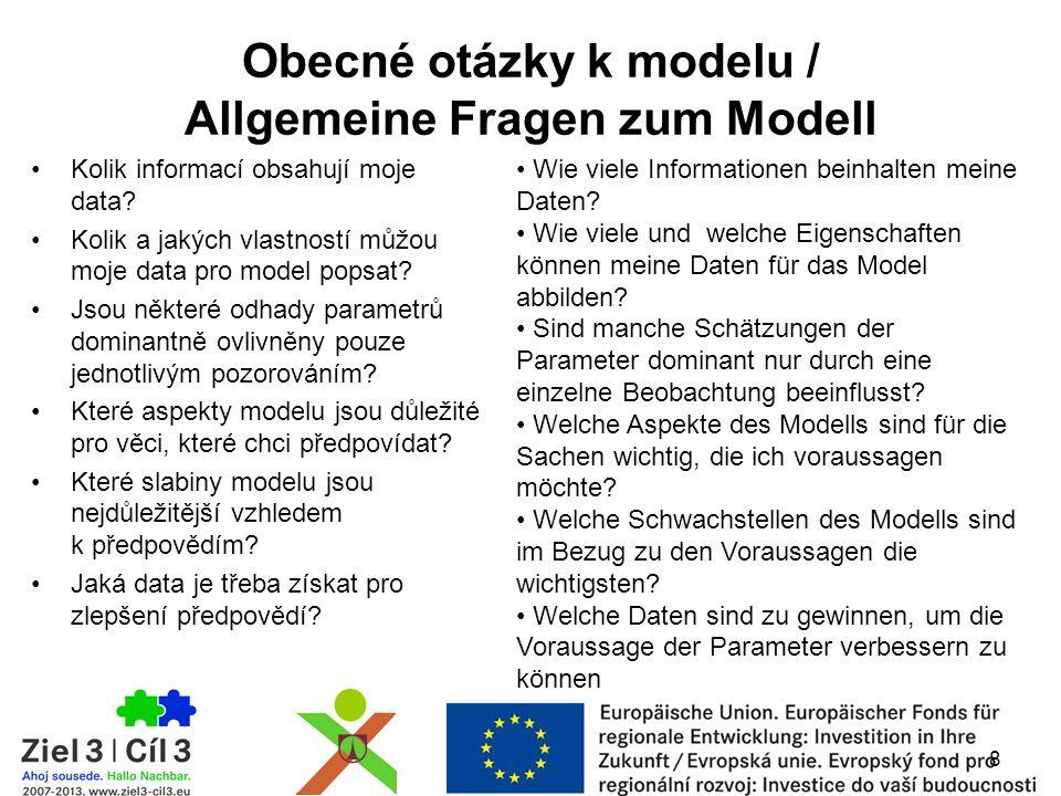 Obecné otázky k modelu / Allgemeine Fragen zum Modell Kolik informací obsahují moje data? Kolik a jakých vlastností můžou moje data pro model popsat?
