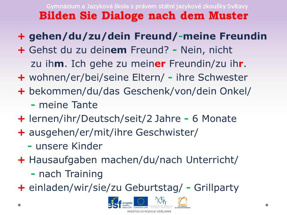 Gymnázium a Jazyková škola s právem státní jazykové zkoušky Svitavy Bilden Sie Dialoge nach dem Muster + gehen/du/zu/dein Freund/-meine Freundin + Gehst du zu deinem Freund.