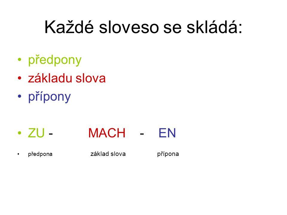 Každé sloveso se skládá: předpony základu slova přípony ZU - MACH - EN předpona základ slova přípona