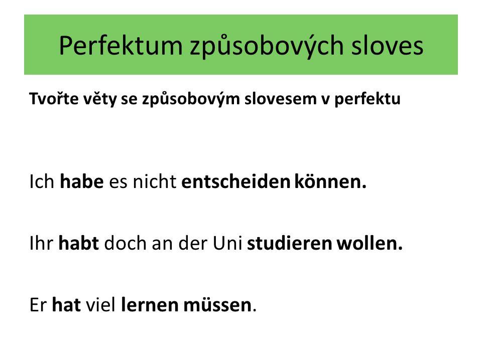 Perfektum způsobových sloves Tvořte věty se způsobovým slovesem v perfektu Ich habe es nicht entscheiden können. Ihr habt doch an der Uni studieren wo
