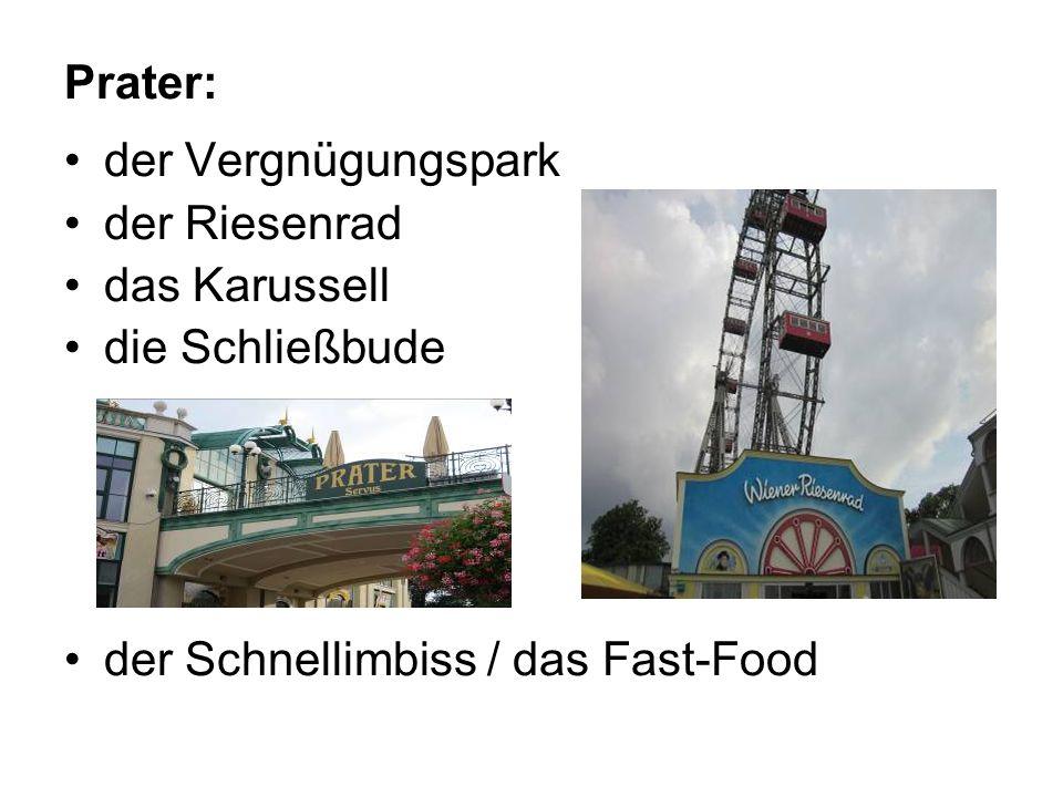 Prater: der Vergnügungspark der Riesenrad das Karussell die Schließbude der Schnellimbiss / das Fast-Food