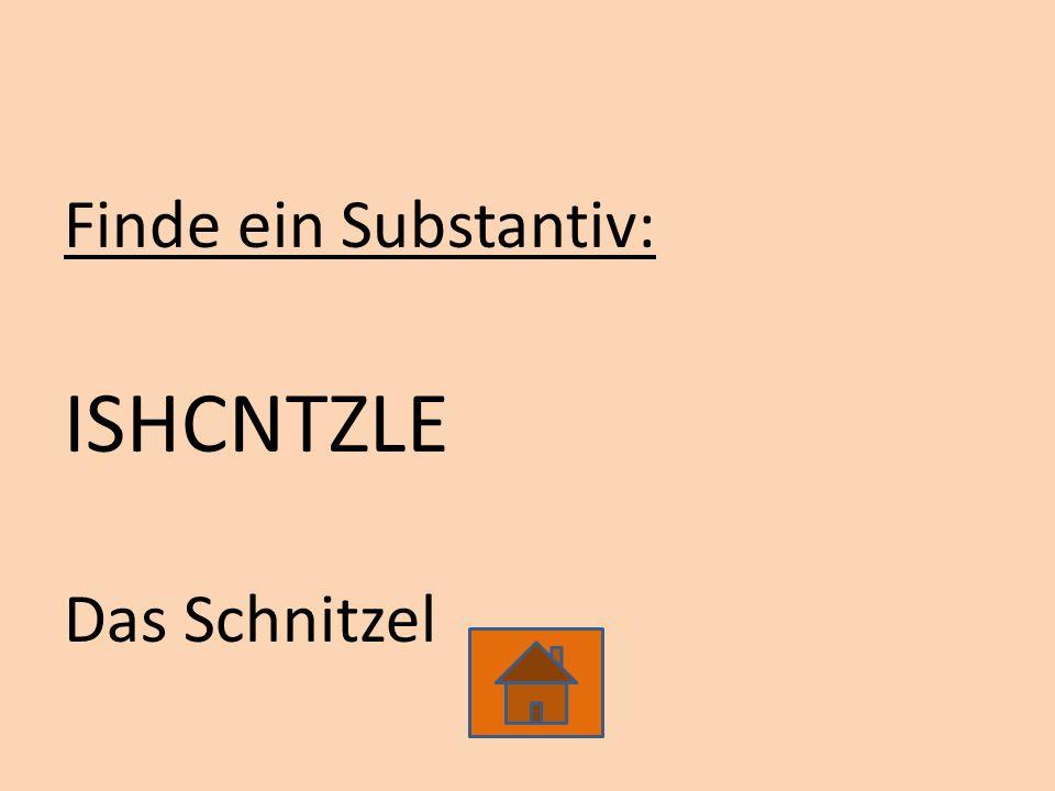 Finde ein Substantiv: ISHCNTZLE Das Schnitzel