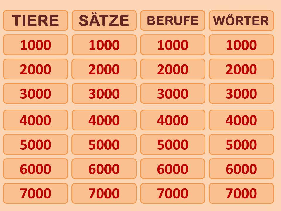 1000 TIERESÄTZE BERUFE W Ő RTER 2000 4000 5000 6000 3000 7000 1000 2000 3000 4000 5000 6000 7000