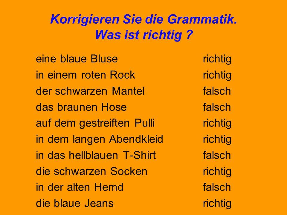 Korrigieren Sie die Grammatik. Was ist richtig ? eine blaue Bluse in einem roten Rock der schwarzen Mantel das braunen Hose auf dem gestreiften Pulli