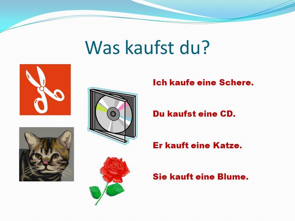 Was kaufst du? Ich kaufe eine Schere. Du kaufst eine CD. Er kauft eine Katze. Sie kauft eine Blume.
