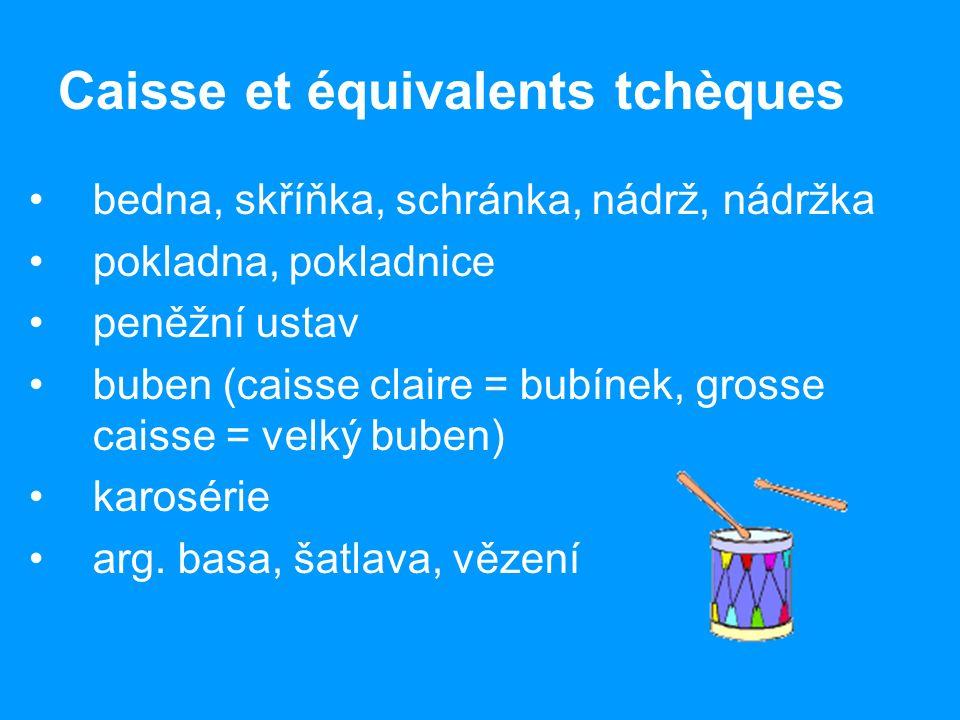 Caisse et équivalents tchèques bedna, skříňka, schránka, nádrž, nádržka pokladna, pokladnice peněžní ustav buben (caisse claire = bubínek, grosse caisse = velký buben) karosérie arg.