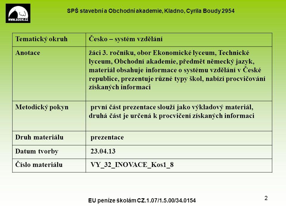 SPŠ stavební a Obchodní akademie, Kladno, Cyrila Boudy 2954 EU peníze školám CZ.1.07/1.5.00/34.0154 2 Tematický okruhČesko – systém vzdělání Anotacežáci 3.
