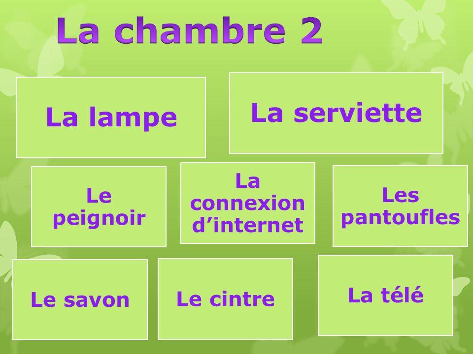 La lampe La serviette Le peignoir Les pantoufles La connexion d'internet Le savon Le cintre La télé