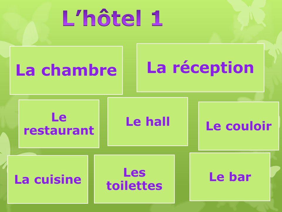 La chambre La réception Le restaurant Le couloir Le hall La cuisine Les toilettes Le bar