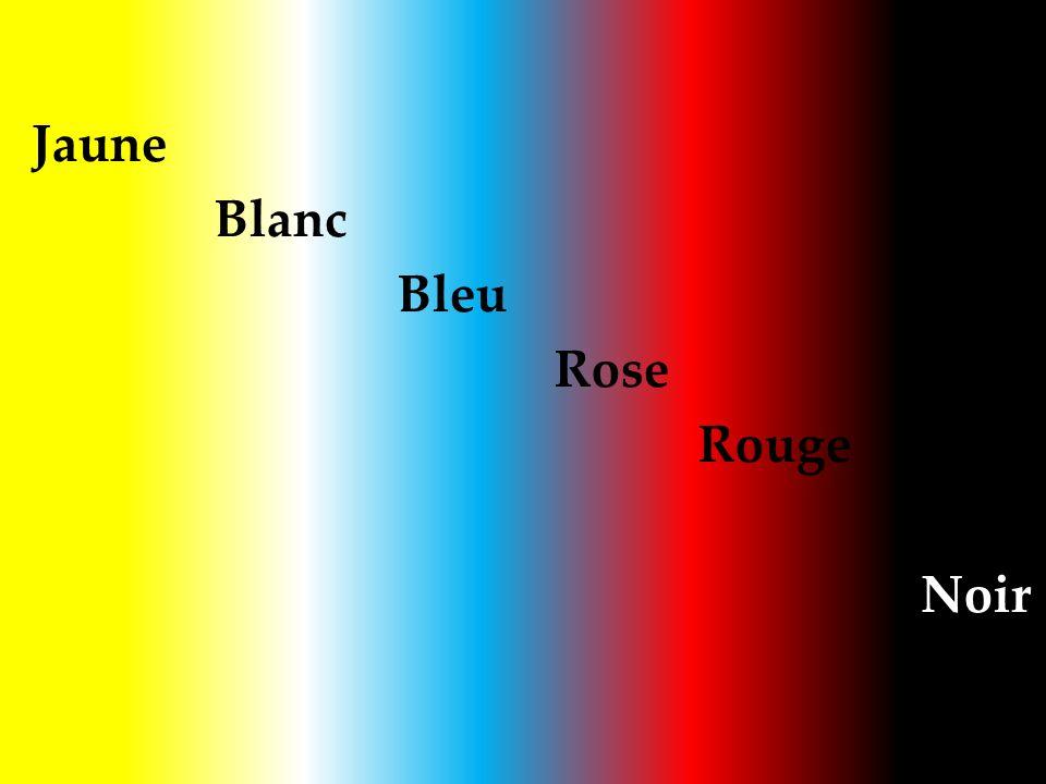 Jaune Blanc Bleu Rose Rouge Noir