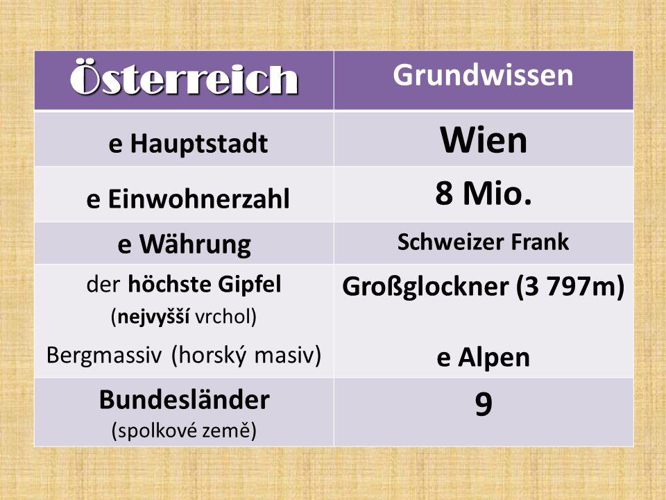 Österreich Grundwissen e Hauptstadt Wien e Einwohnerzahl 8 Mio.