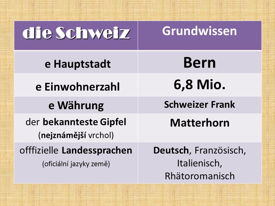 die Schweiz Grundwissen e Hauptstadt Bern e Einwohnerzahl 6,8 Mio.